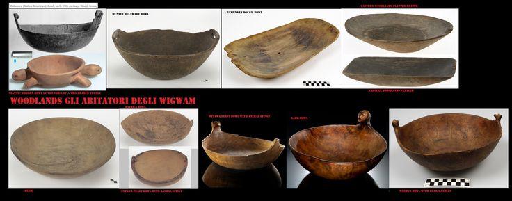 Alcuni esempi di recipienti intagliati nel legno. Nelle woodlands nordorientali era generalizzato l'uso di ciotole e vassoi di legno,