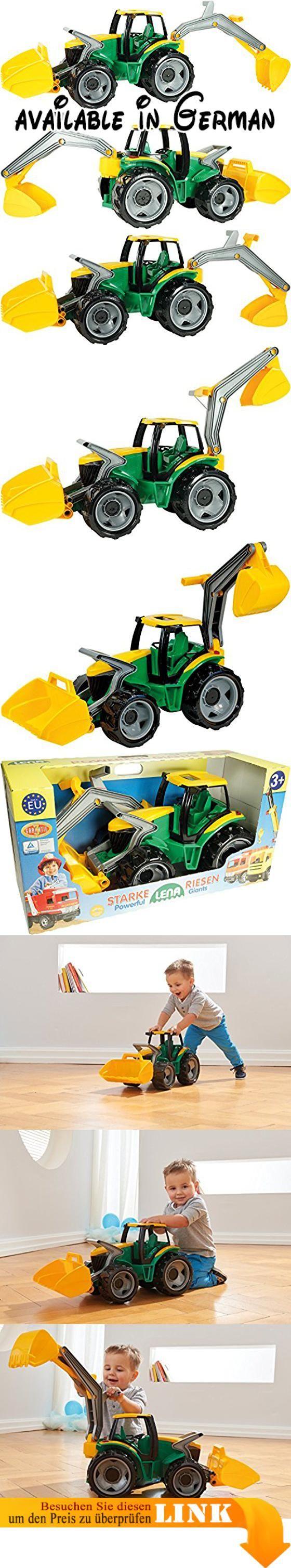 Lena 02080 - Starke Riesen Traktor mit Frontlader und Baggerarm ca. 107 cm. Starke Riesen Traktor mit Frontlader und Baggerarm aus hochwertigem Kunststoff und mit 6mm verzinkte Stahlachsen. Länge: ca. 107 cm Farben grün / gelb. Mit großer Schaufel mit ergonomisch geformte Bügel zur Bedienung, abnehmbaren Baggerarm und Schiebedach in der Fahrerkabine. Geeignet für Kinder ab 3 Jahren für drinnen und draußen, auch im Sand. 3 Jahre Garantie. Hergestellt in der EU. Spielgut!