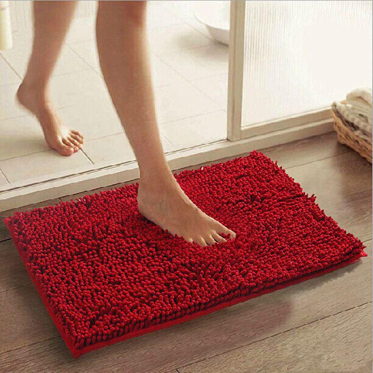 Image Of Bright Red Bathroom Rugs Uk