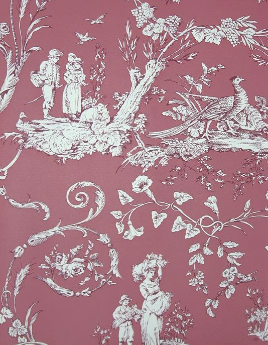 Paysannerie Toile Wallpaper A scenic toile wallpaper with farm workers, pheasants, stags and dogs amongst swirling foliage in raspberry.