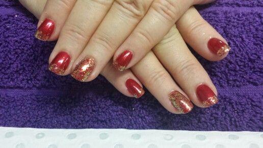 Red with orange glitter. :)
