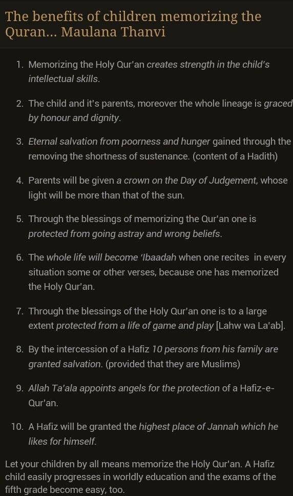 Benefits of memorizing Quran