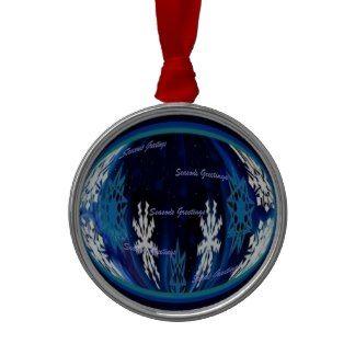Seasons Greetings Snowflake Globe Christmas Ornament