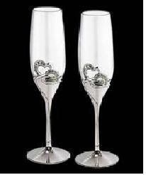 Sterling silver & glass set of 2 wine glasses