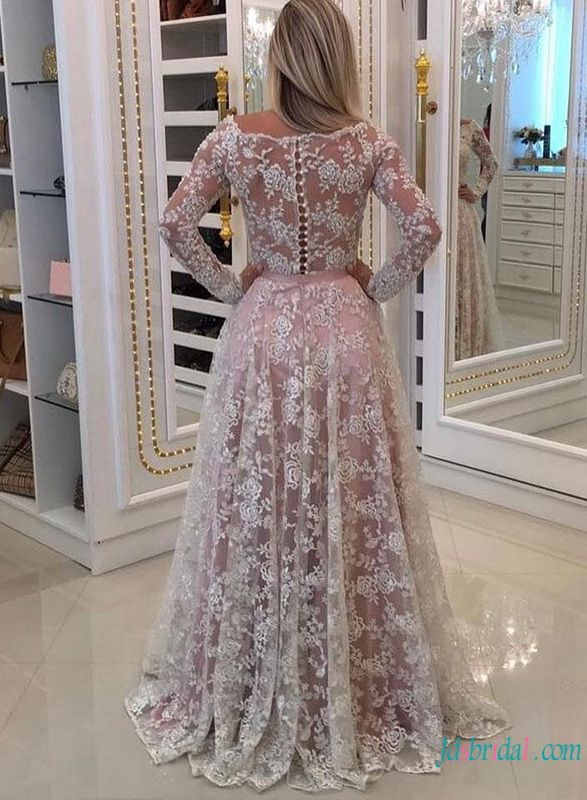 035758f8d92 H0785 White lace with pink lining off the shoulder wedding dress  #laceweddingdress #weddingdresses #whiteandpinkweddingdress  #weddingdresswithsleeves ...
