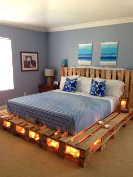 Pallets to raise your bed. A great nautical feel.