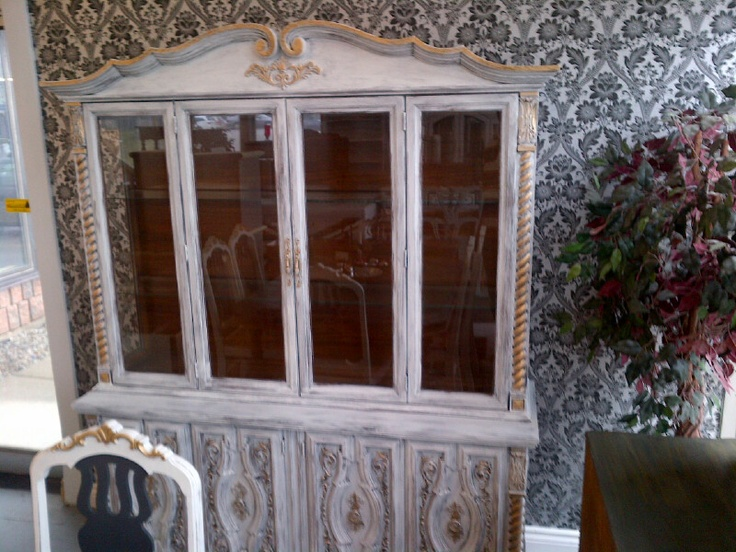 vintage buffet and hutch completed in white with gold wax!!