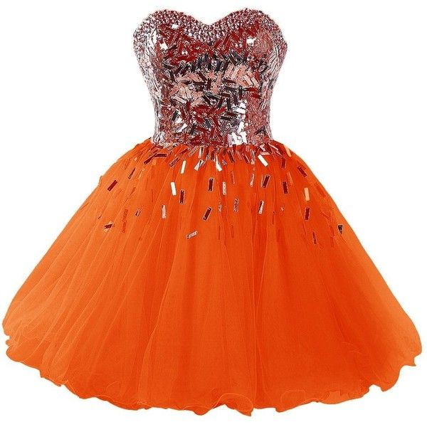 Dressystar 2015 Sweetheart Party Ball Gowns Sparkling Short Homecoming... ($110) ❤ liked on Polyvore featuring dresses, night out dresses, short dresses, orange homecoming dresses, going out dresses and holiday party dresses
