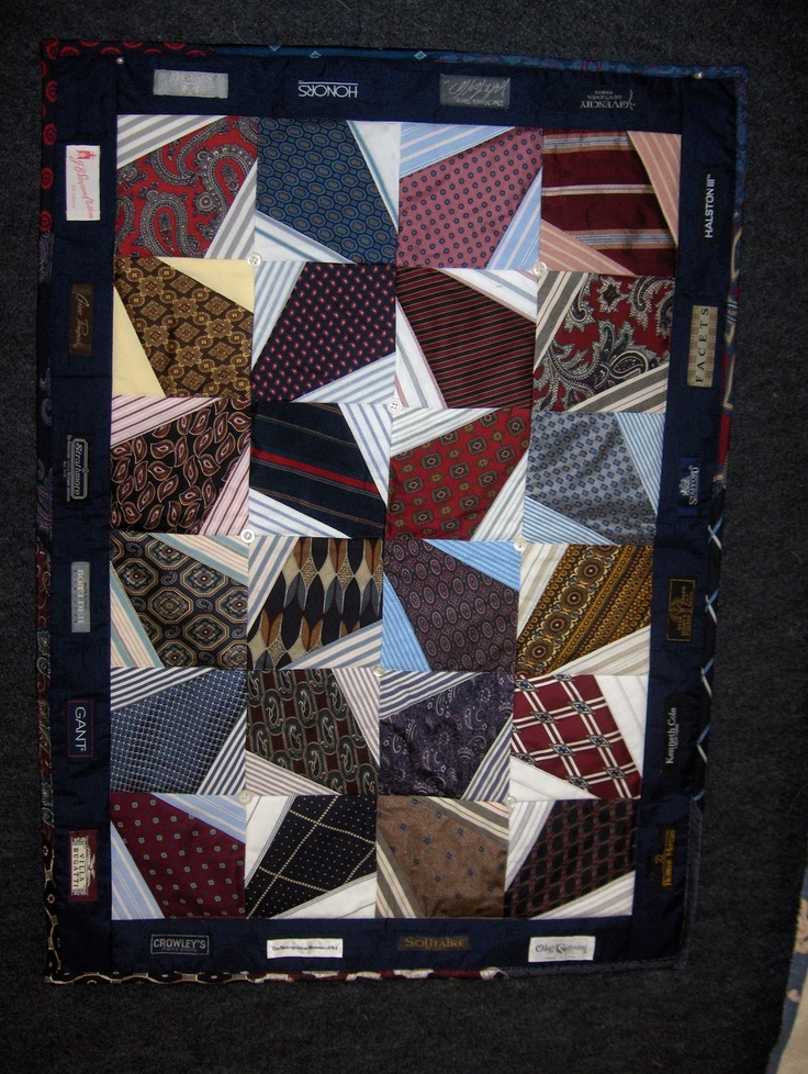 Make Quilts with old Neck Ties like this lady did-nsturgeon.blogspot.com