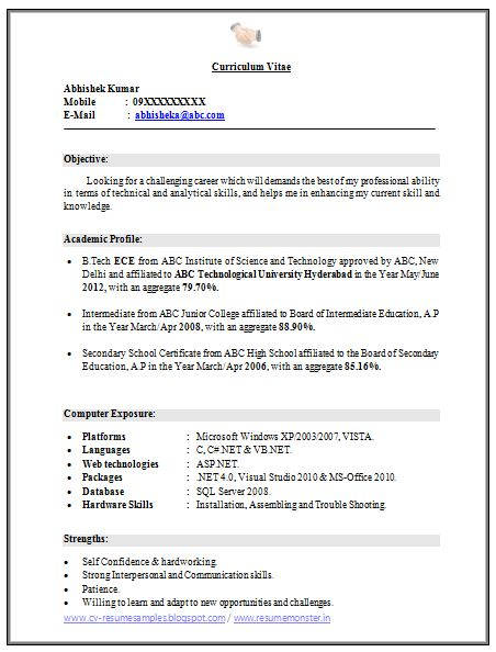 Over 10000 CV And Resume Samples With Free Download: B Tech ECE Fresher Resume  Free  Resume For Free