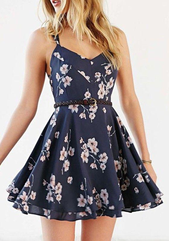 Blue Floral Cross Back V-neck Sexy Polyester Mini Dress