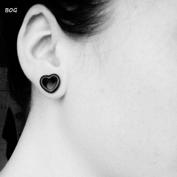 Aliexpress.com: Comprar BOG 1 Par Corazón de Acrílico Hueco Doble Llamarada Túneles Del Oído Ear Plugs Earlets Medidores Joyería Piercing de punky de la joyería fiable proveedores en Zhejiang BOG Jewelry Limited
