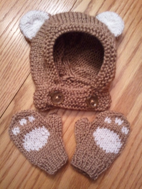 Baby bear hat and mittens set by WhimsyGoods on Etsy, $35.00