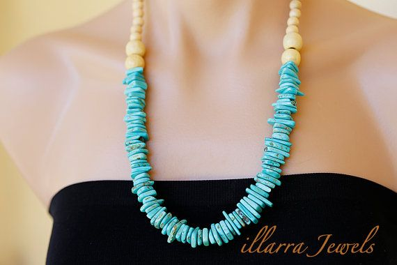 Dyed Turquoise Howlite Heishi Nugget Bead by illarraJewels on Etsy