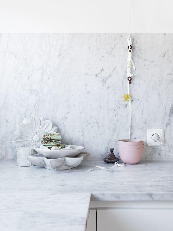 Carrera....Marble, Kitchens Benches, Kitchens Back Splashes, Dreams Kitchens, Soft Pink, Kitchens Redo, Pastel Pink, Kitchens Counter, Design Style
