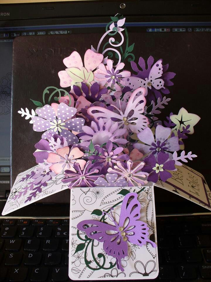 Purple flowers butterflies - Pop up card box