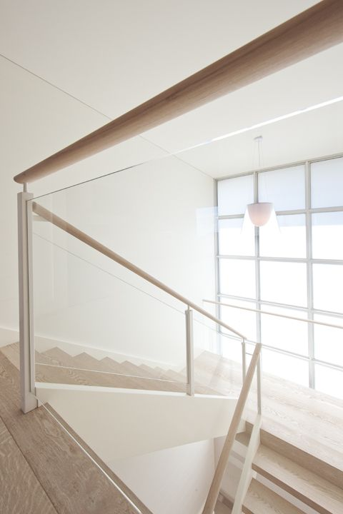 Contemporary | Stair | American Oak | Stained | White | Steel Posts | Glass Balustrade | Beautiful | Statement | Architecture