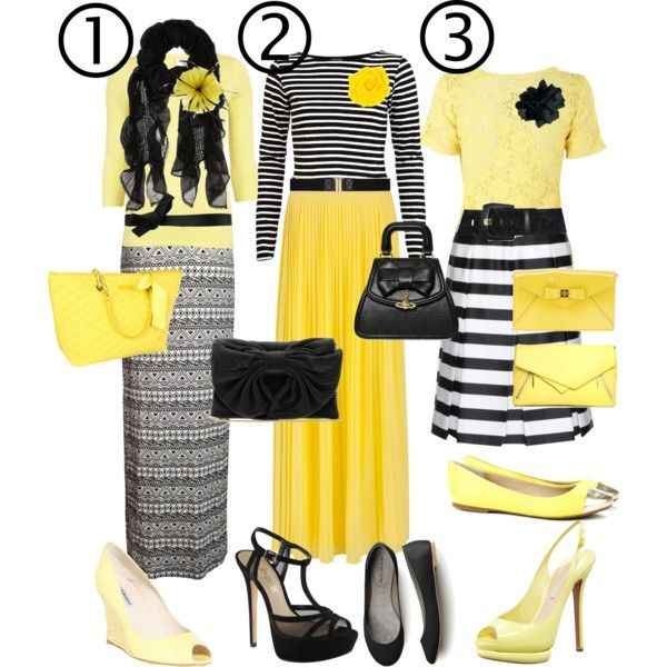 Black and yellow skirt outfits