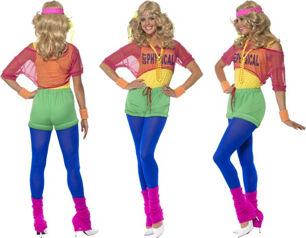 80s Party Costumes   physical girl 80s ladies fancy dress olivia dance fame party costume