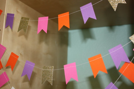 Dora Party Decoration Paper Garland  Pink Purple Orange and Gold Glitter by SimplyScissors, $10.00