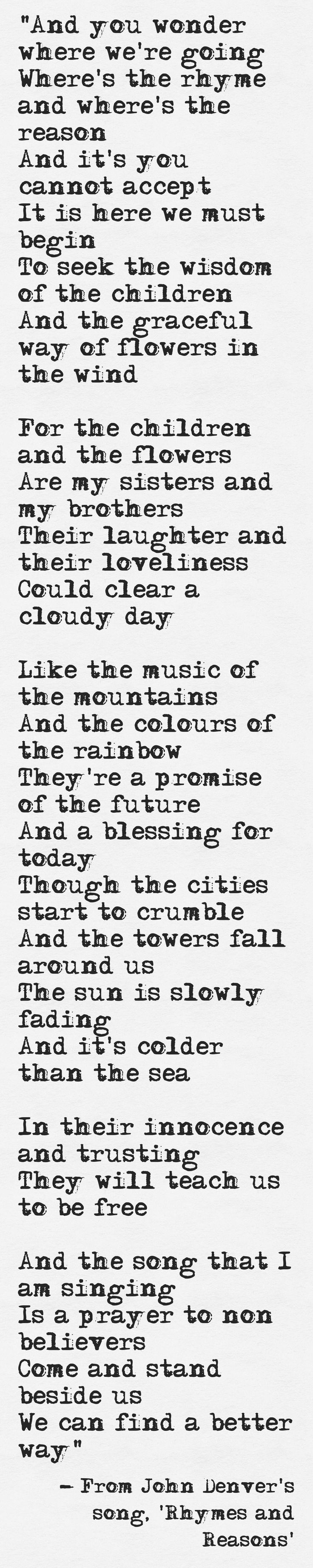 Lyrics from John Denver's song, ...