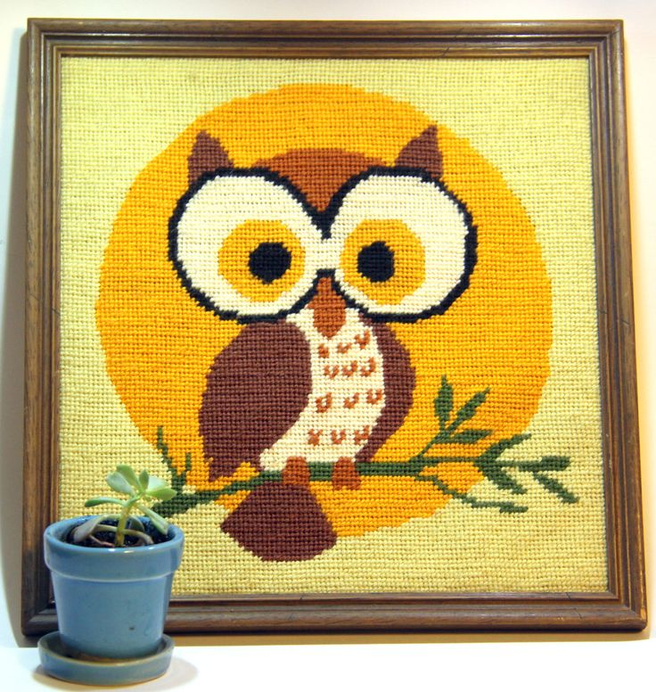 Framed Owl Needlepoint Picture - Without Glass - Children's Room Decor - Bright Sunny Picture for your Wall (15.00 USD) at NostalgiaVermont