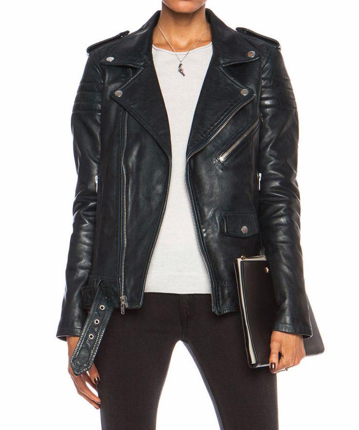 Women's Leather Jacket Black Slim Fit Biker Motorcycle Lambskin Jacket S M L 801 #Ryanlifestyle #Motorcycle #PerfectforMotorcycleBikerandWinter