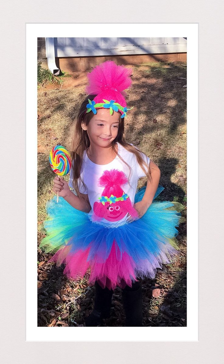 Princess Poppy Tutu Dress Troll Birthday Outfit