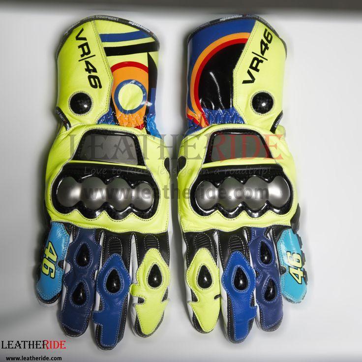 2016 MotoGP Valentino Rossi Race Gloves A high profile and perfect matching pair of motorbike race gloves, can be matched with any Valentino Rossi 2015 or 2016 suit.   http://leatheride.com/2016-motogp-valentino-rossi-race-gloves/  #2016MotoGP, #RaceGloves, #ValentinoRossi #RidingGloves