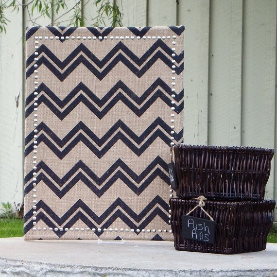 Decorate and organize your work or living space at the same time with this pin board covered in a stylish chevron print burlap. The silver border