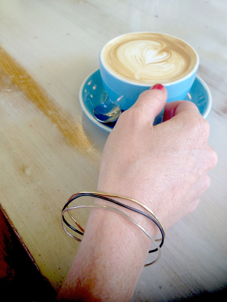 Jen is having a Valentines Day coffee (note the heart art from the barista - sweet!) at Burnt Orange Cafe in Mosman. She's wearing her Kyler by Joy O bangles on this day of love and we must say they look fittingly gorgeous.