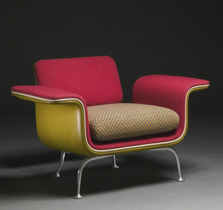 ALEXANDER GIRARD ARMCHAIR, MODEL NO. 66310  aluminum and fabric upholstery 26 x 40 1/4  x 28 1/4  in. (66 x 102.2 x 71.8 cm) circa 1967 manufactured by Herman Miller, Zeeland, MI