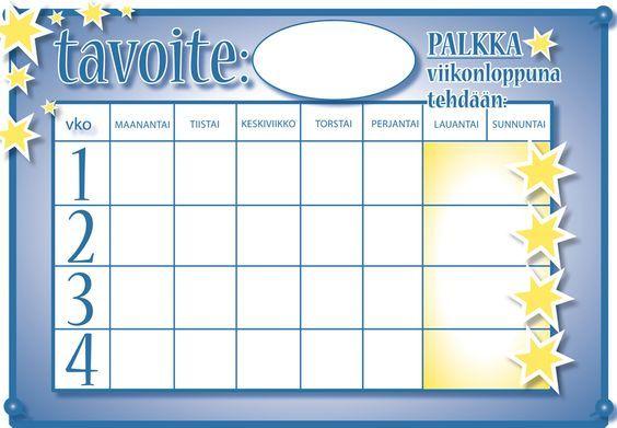 Motivointi ja palkitseminen, tavoitetaulukko