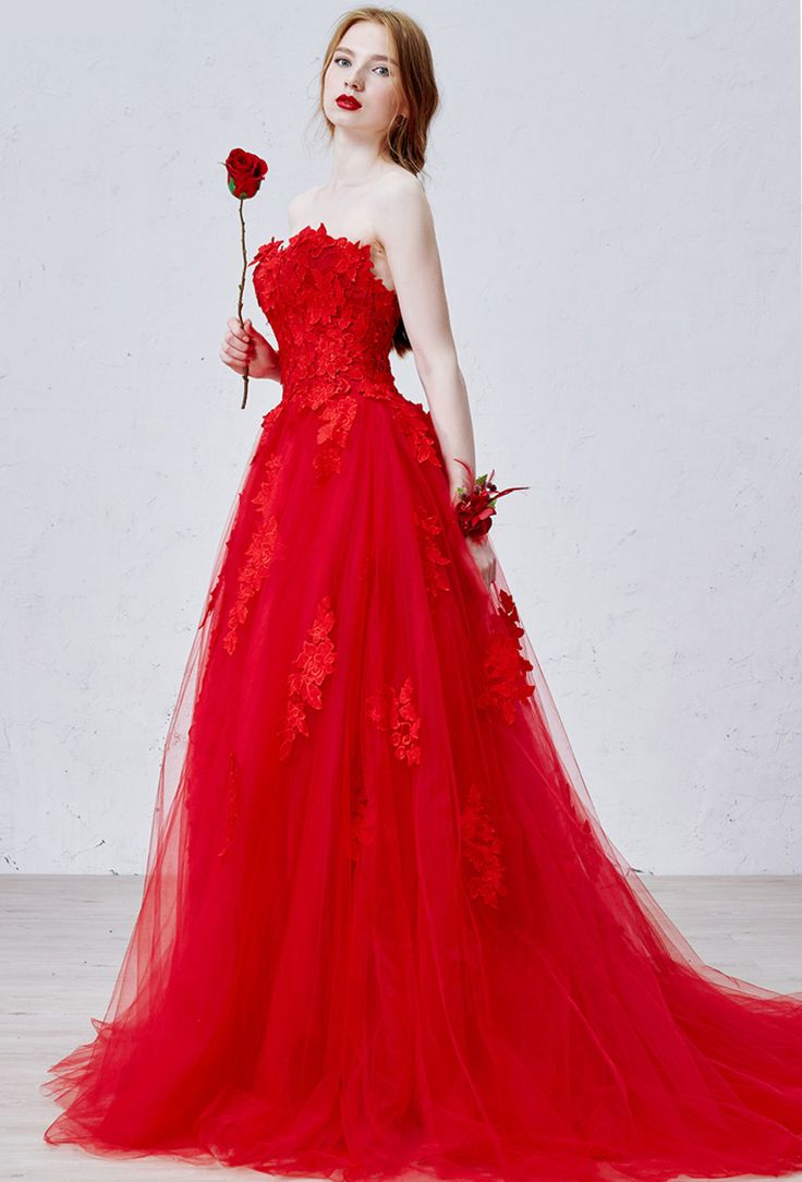 Fabulous Cheap gown Buy Quality gown hollywood directly from China gown bridal Suppliers Fast Shipping Red Wedding Gowns Sweetheart Delicate Lace Appliques