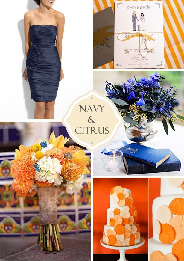 Navy and citrus wedding colors: Wedding Inspiration, Colors Combos, Citrus Wedding, Wedding Orange, Blue Orange Wedding, Colors Palettes, Wedding Colors, Wedding Plans Ideas, Navy Wedding