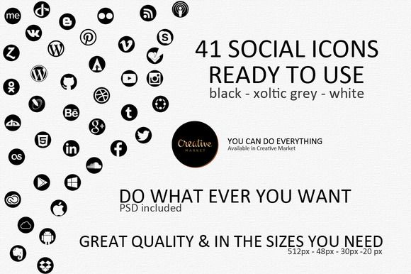 Check out 41 Social Icons by xoltic on Creative Market