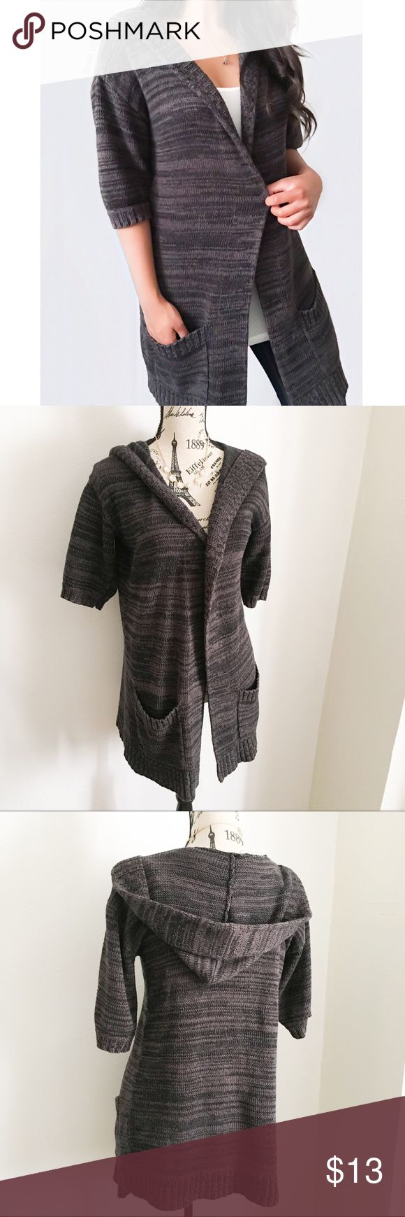 """Charcoal + Black Long Hooded Cardigan ✦   ✦{I am not a professional photographer, actual color of item may vary ➾slightly from pics}  ❥chest:21"""" ❥waist:20"""" ❥length:32"""" ❥sleeves:11.5"""" ➳material/care:cotton+ acrylic/machine wash  ➳fit:true w/a longer style  ➳condition:pre-loved no major flaws like rips/stains  ✦20% off bundles of 3/more items ✦No Trades  ✦NO HOLDS ✦No transactions outside Poshmark  ✦No lowball offers/sales are final New York & Company Sweaters Cardigans"""
