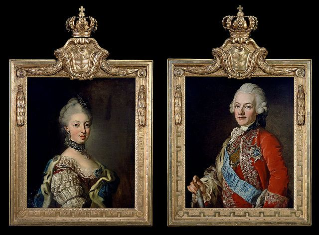 Miniature(?) portraits of King Gustav and Queen Sophia Magdalena