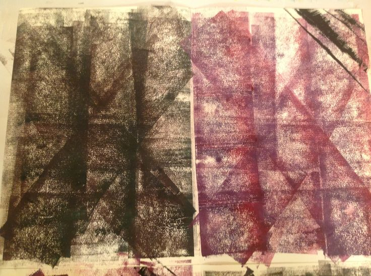(Top 1/2) Rolled dark green and purple background and added black lines to purple corners