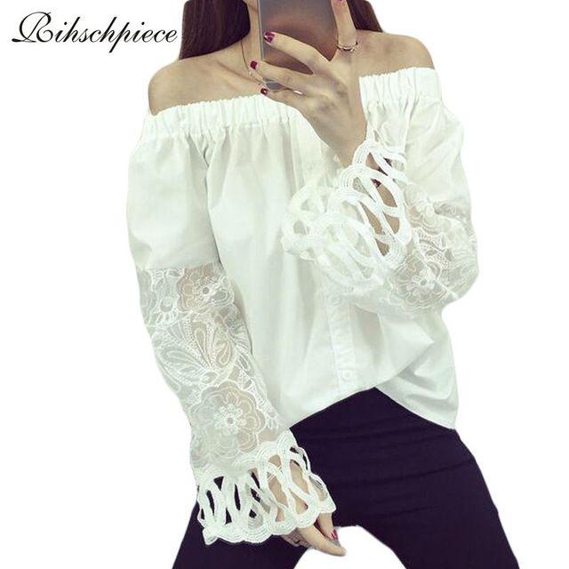 Rihschpiece Белое Кружево Блузка 2016 Женщин Топы и Блузки Рубашки Новая Мода С Плеча Рюшами Топ Старинные RZF163