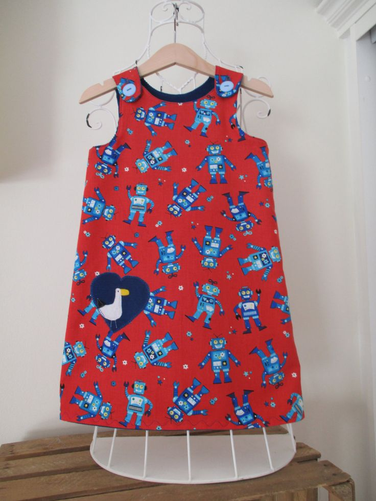 Reversible Dress, girls pinafore, red robot, blue cord,  2 in 1,  cotton poplin, applique, seagull by beadiesbyjo on Etsy