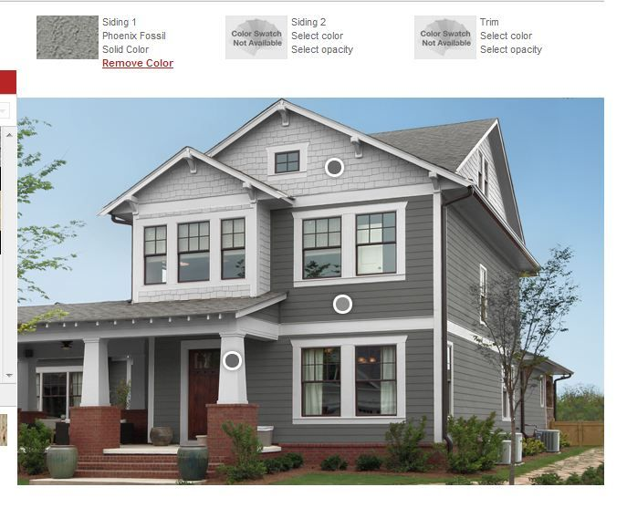 Dark gray siding light gray wood shingle siding white craftsman style columns with brick base - Dark grey exterior house paint concept ...