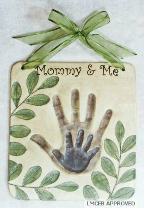 Handprints in clay - great Christmas present for daddy &child hands. Start a tradition until they are the same size.