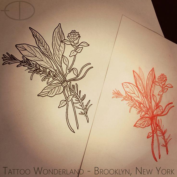 #sage #rosemary #thyme #herb #tattoo #flash by @danleytattoos @tattoowonderland for a upcoming client #tattoowonderland #brooklyn #brooklyntattooshop #bensonhurst #newyork #tattooshop #tattoostudio #tattooparlor #tattooparlour