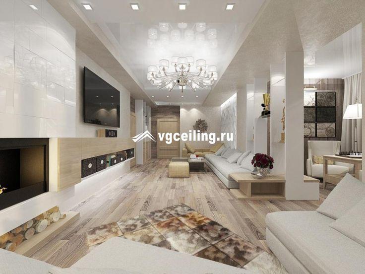 Многоуровневый потолок в гостиную