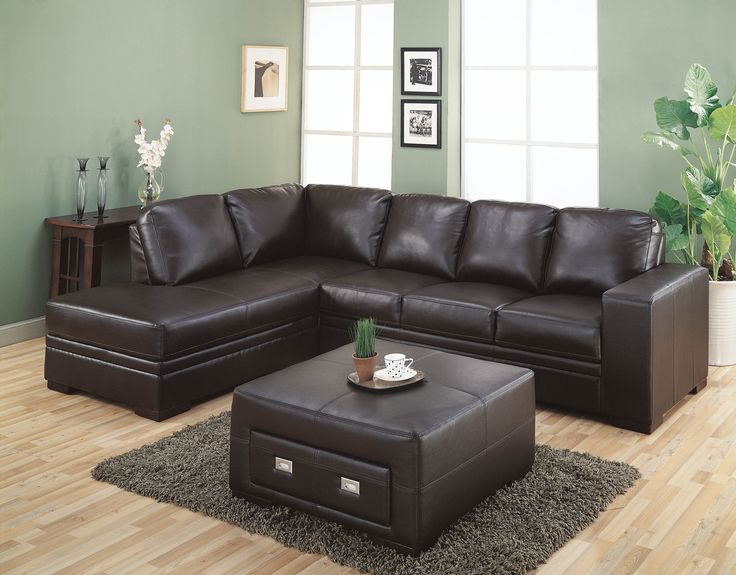 Very Popular Sectional Dark Brown Leather Couch With Square Upholstered Brown Leather Coffee Table Storage On Gray Fur Rug Feat Fake Woods Floors In Midcentury Living Room Designs