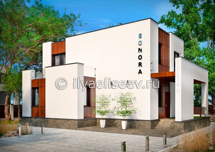 """Арт. 01-42 Проект дома с плоской крышей из газобетона в стиле минимализм """"Sonora"""""""