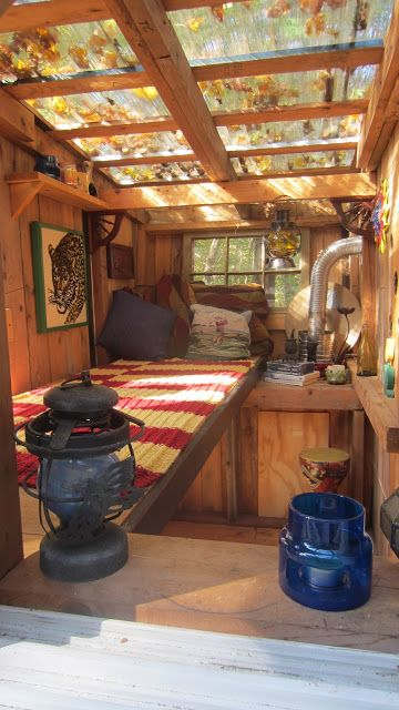 "The Gypsy Junker, a tiny shelter with a clear roof  by Derek Diedricksen. Link goes to top level; search on ""Gypsy Junker"" on top left search bar. Tons of great Tiny Homes!"