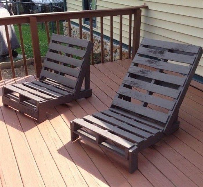 Salon de jardin en palette design idée meubles en bois palettes fabriquer canapé extérieur construire chaise longue cagette pas cher peinture marron recycler