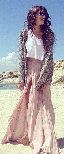 maxi skirt, crop top, oversized cardigan